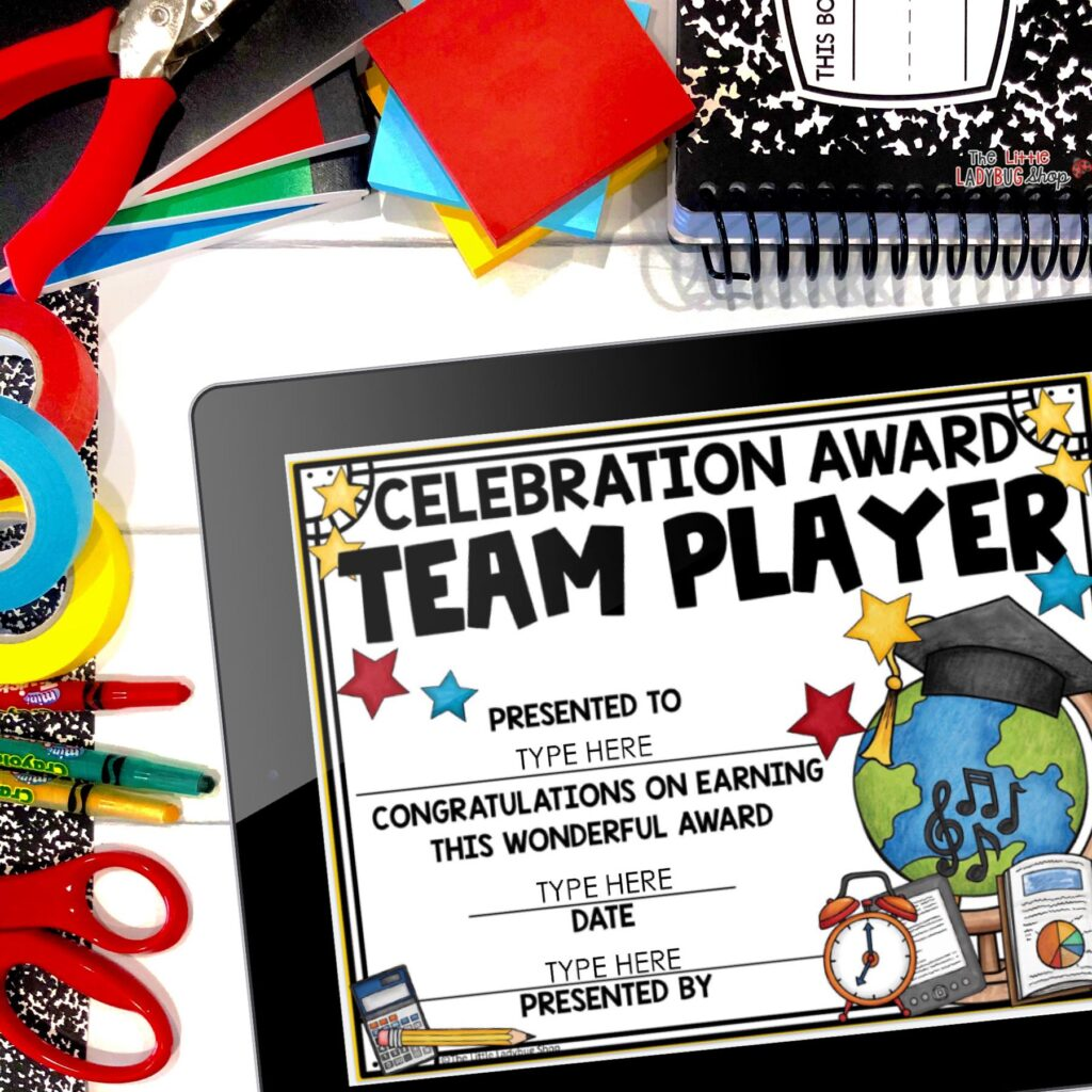 Editable End of Year Awards and Certificates