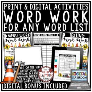 Digital Spelling Activities Any List of Word Work Centers Google Slides