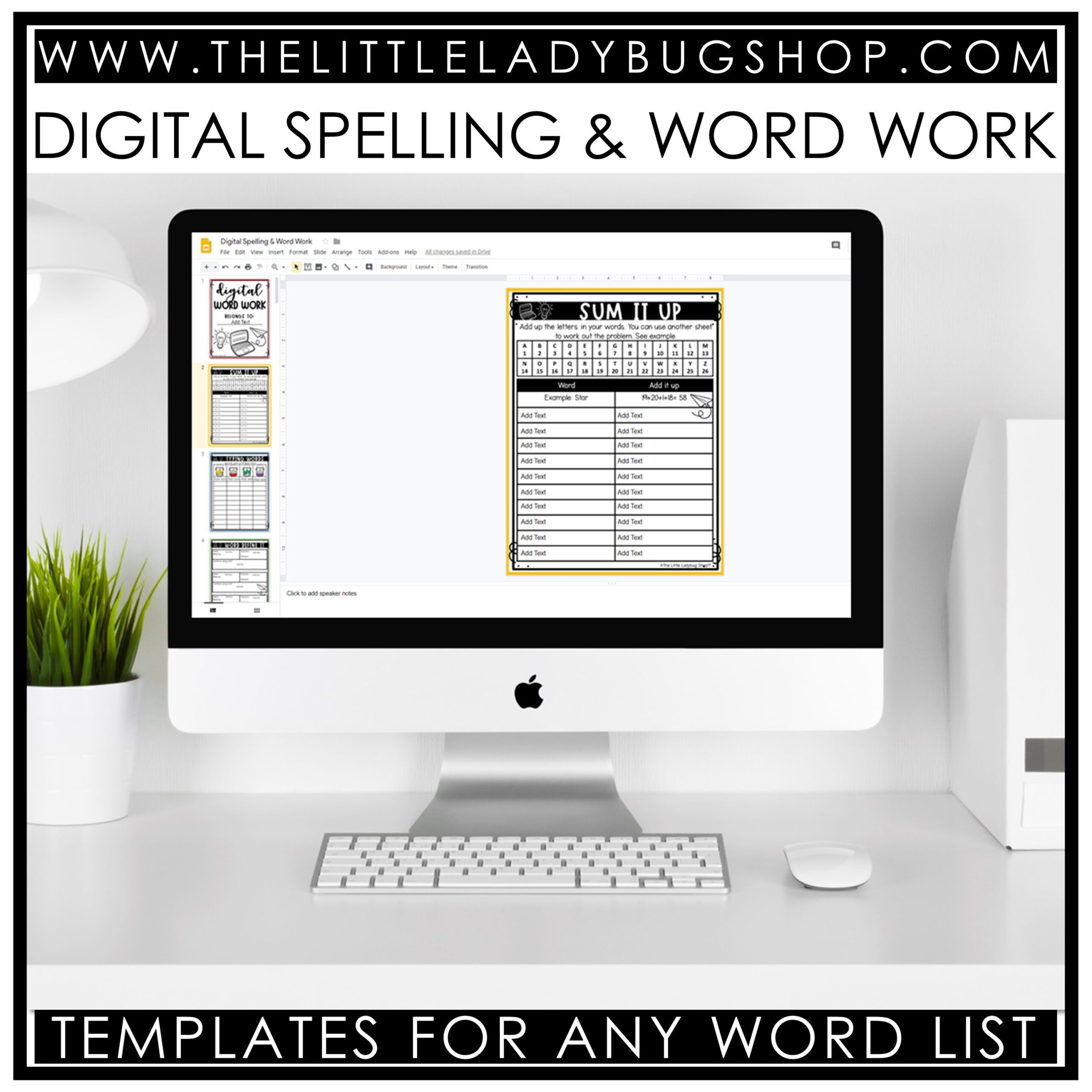 Word Work Google Slides Paperless Classroom, Spelling digital resources