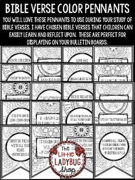 Bible Lessons- Bible Verse Color Posters Christian Education Resources