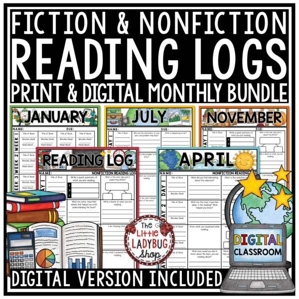 Digital Reading Logs for Homework- Fiction & Nonfiction Reading Strategies