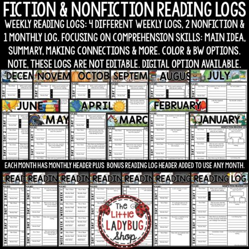 Reading Logs for Homework- Fiction & Nonfiction Reading Strategies