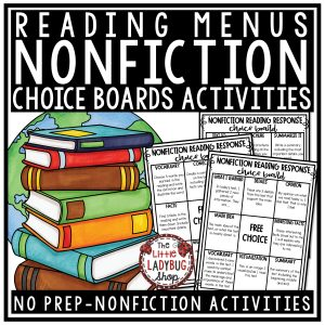 Nonfiction Choice Board Activities & Nonfiction Reading Response Choice Boards