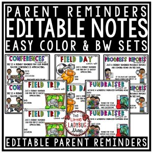 Editable Parent Teacher Reminder Notes for Communication - Conference, Book Fair, Field Trip