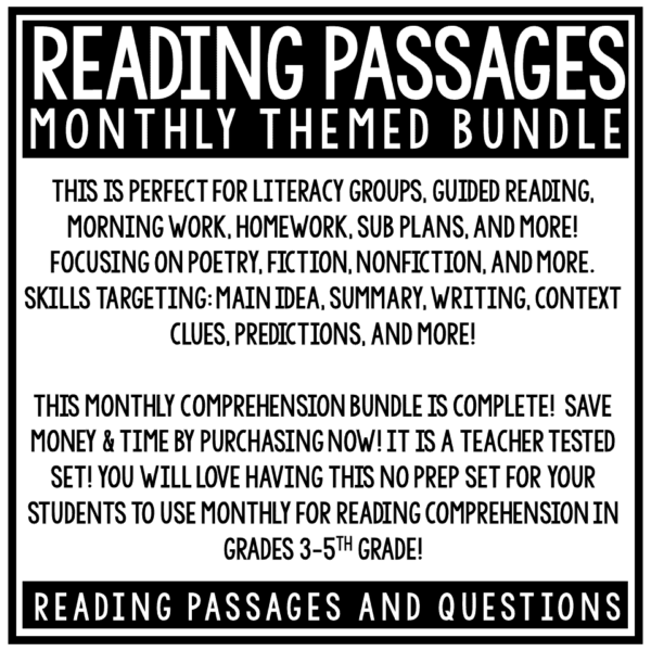 Close Reading Comprehension Passages and Questions 4th Grade, 3rd Grade Bundle
