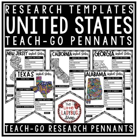 50 US States Activities United States Research Project- United States Geography- Teach-Go Pennants