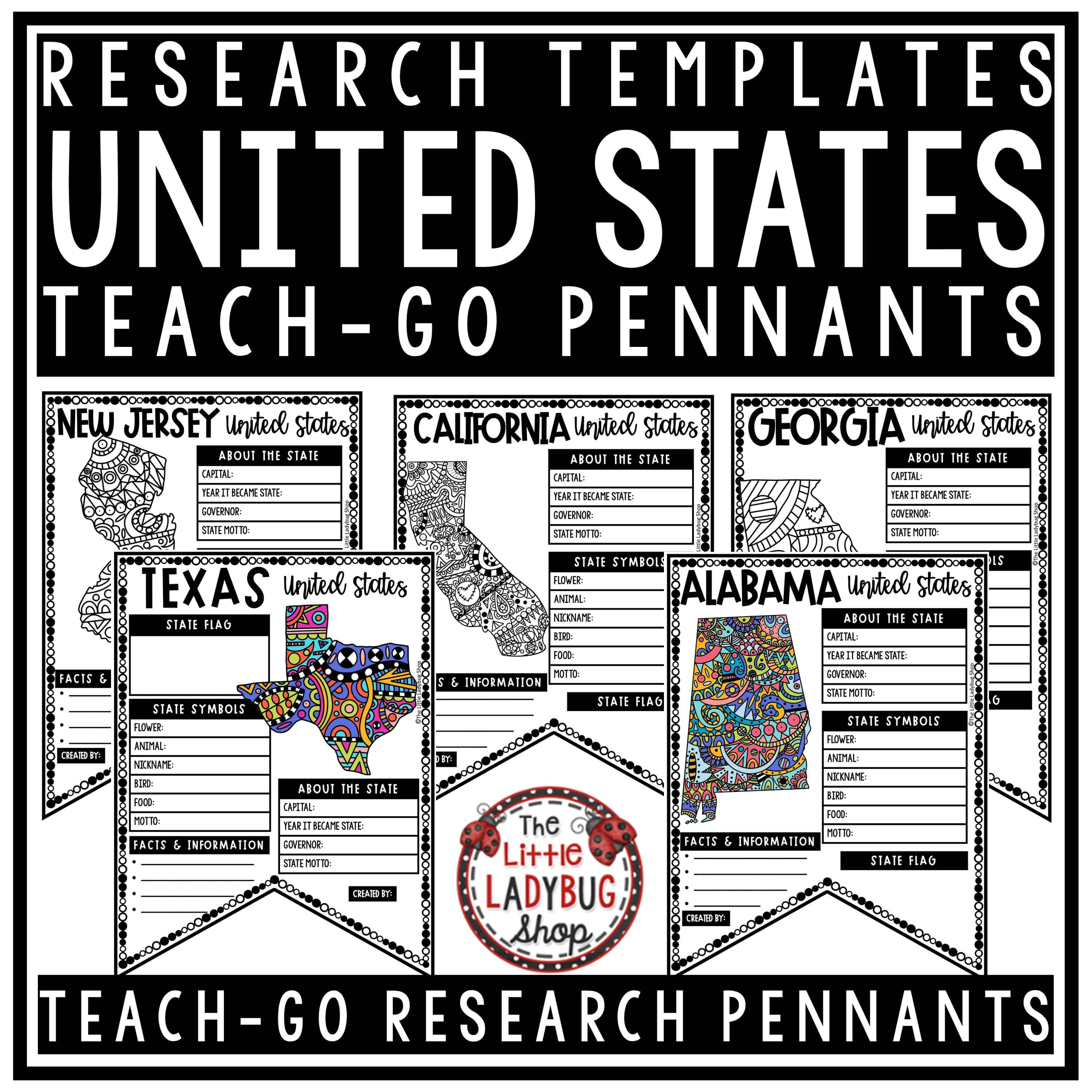50 us states activities united states research templates- teach-go pennants u00ae