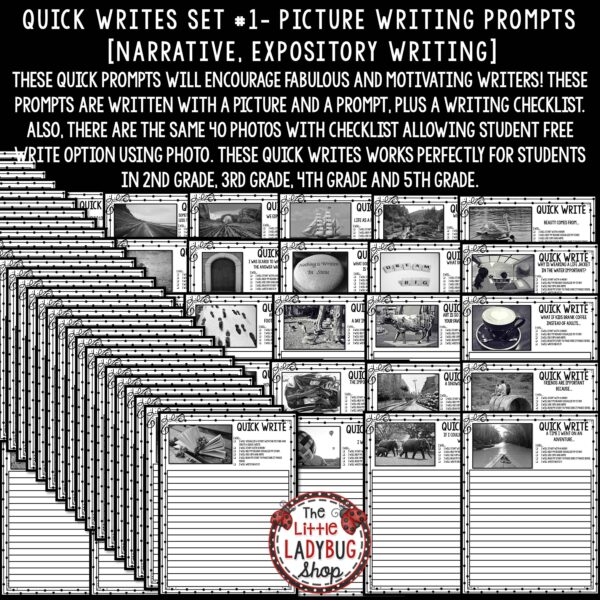 Writing Prompts -3rd Grade, 4th Grade Quick Writes Picture Prompts