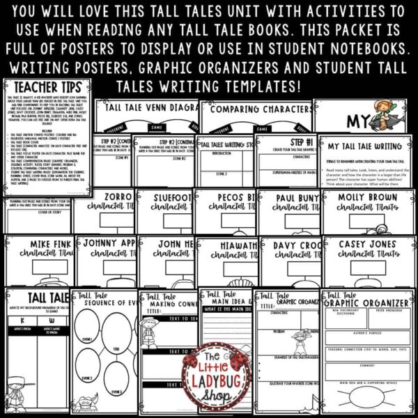Tall Tales Unit- Davy Crockett, Paul Bunyan, Zorro Tall Tales Graphic Organizer