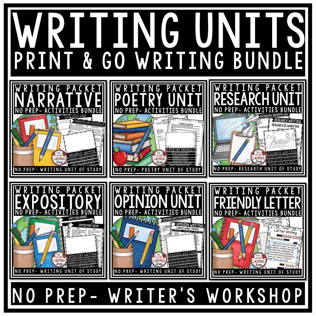 Writers Workshop Writing Unit Bundle 3rd Grade, 4th Grade Expository, Personal Narrative, Opinion Writing