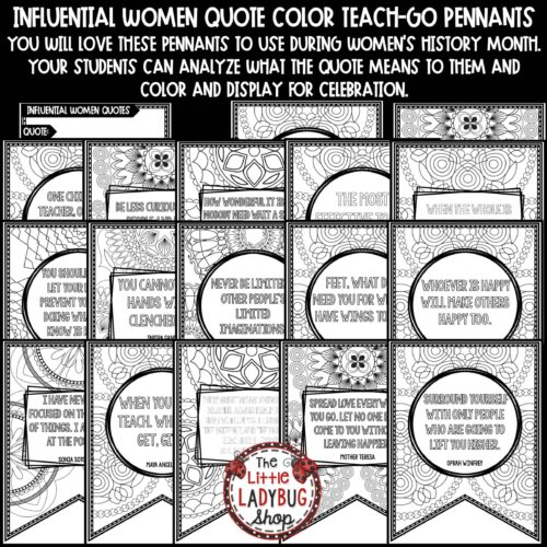 Women's History Month Quotes Coloring Posters Teach-GO Pennants