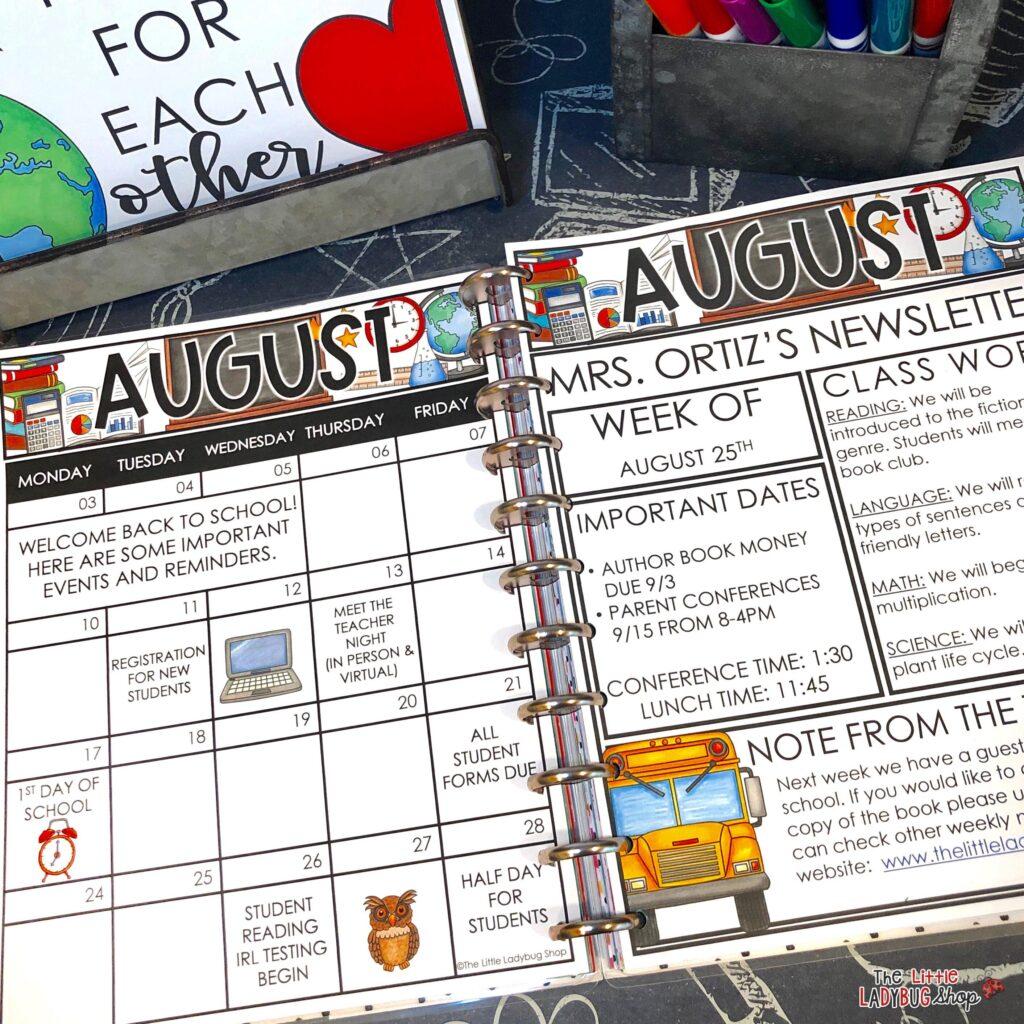 Classroom Communication Newsletters & Calendars
