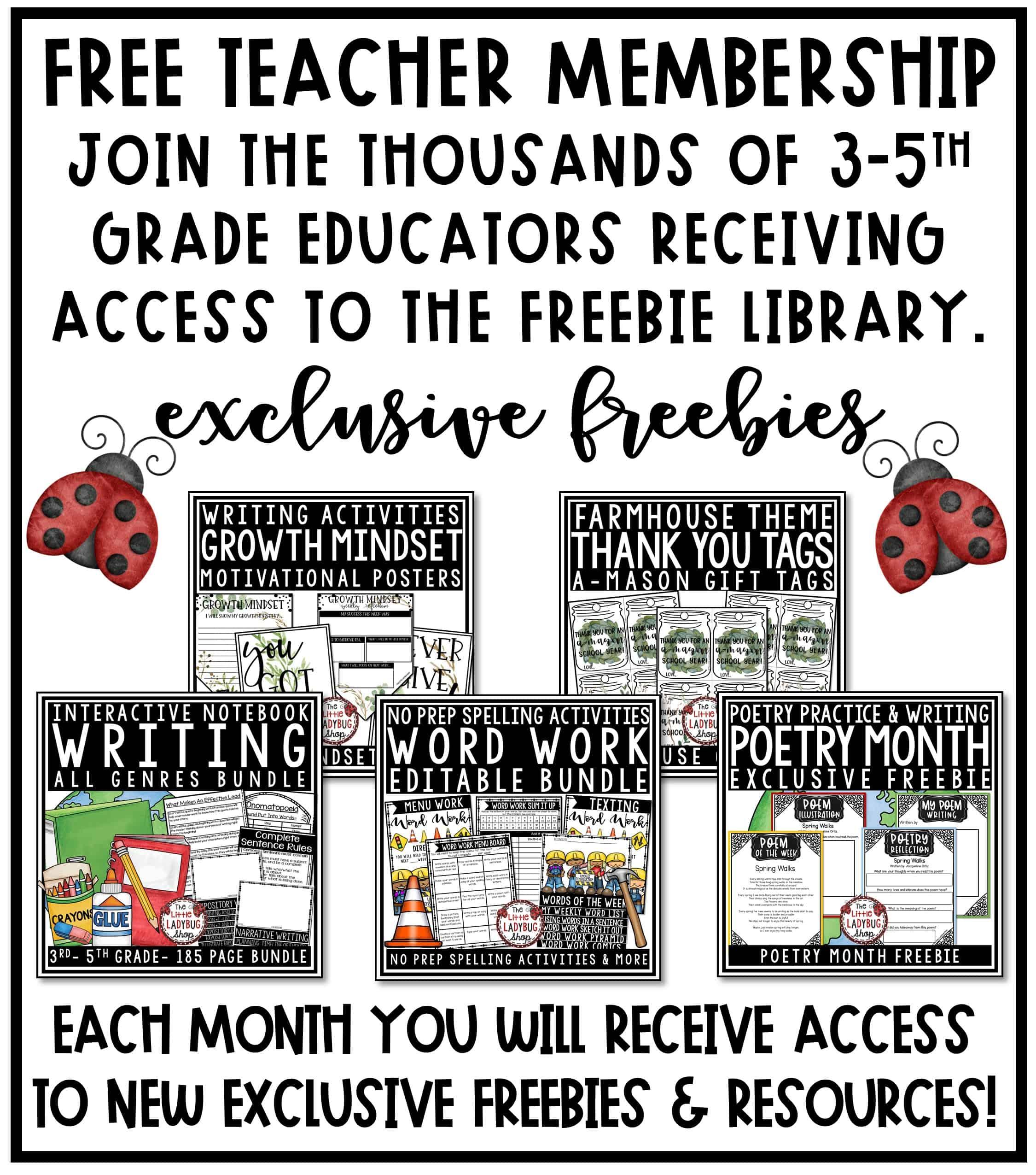 Upper Elementary Classroom Freebies for 3rd grade, 4th grade, 5th grade and home school teachers