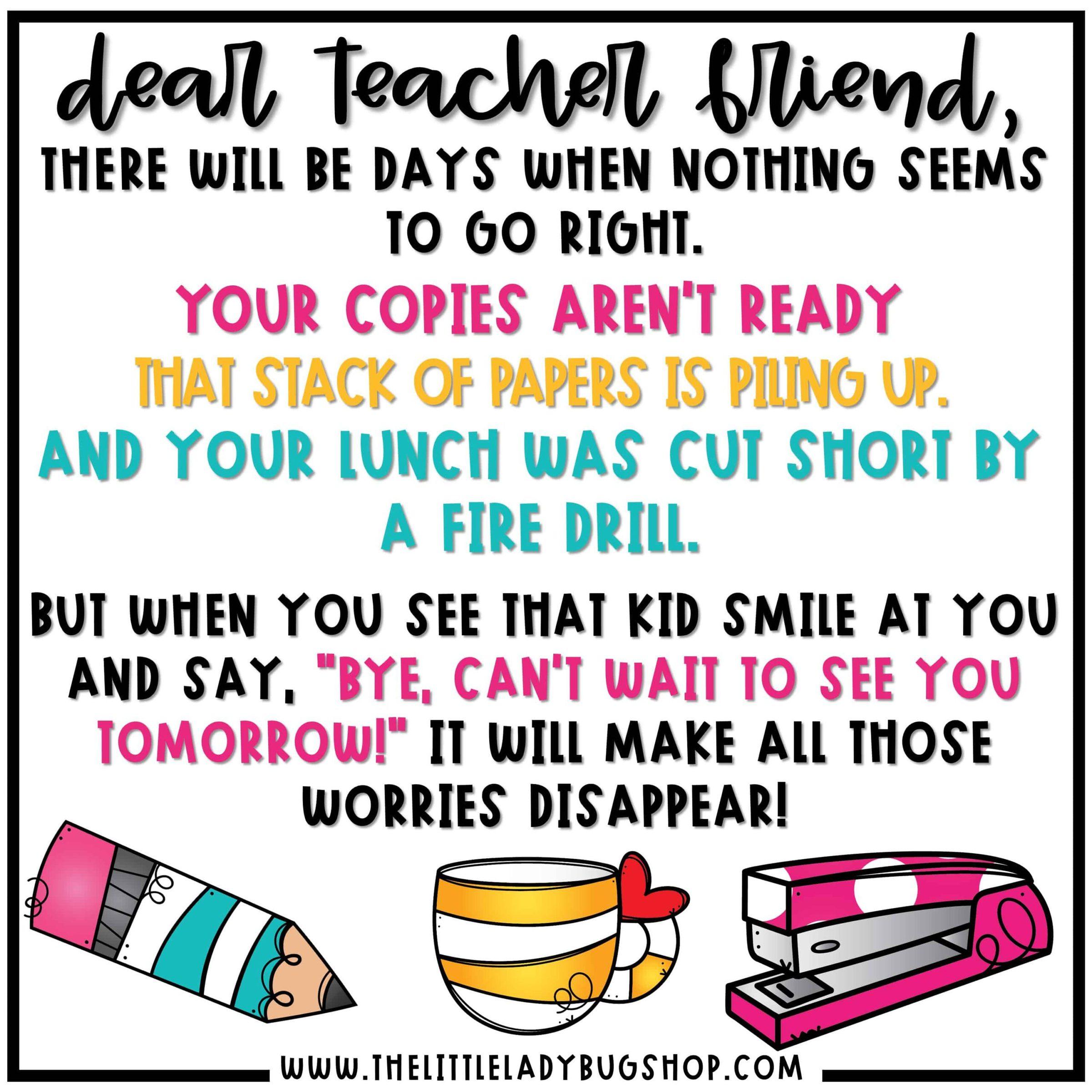 Back to school Dear Teacher Friend, Teacher Memes and Quotes
