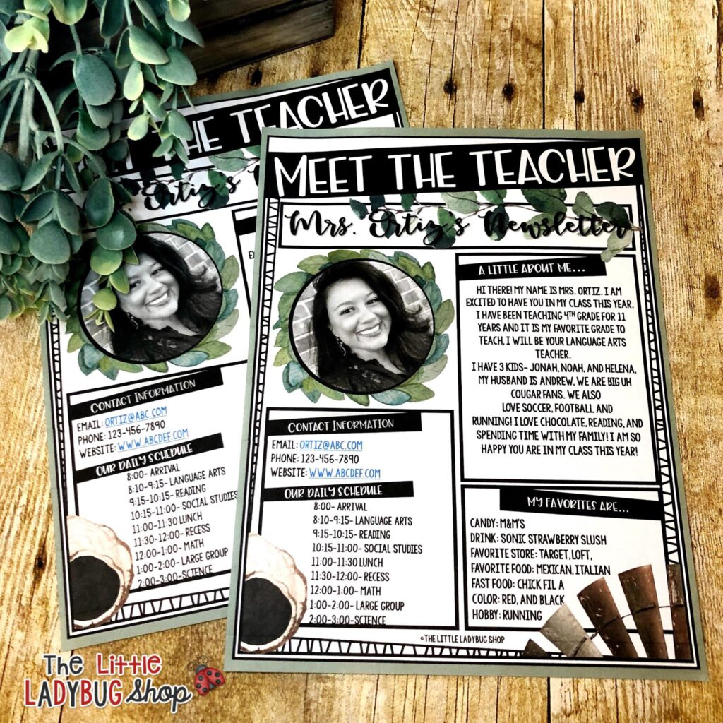 Meet the Teacher Newsletter Template
