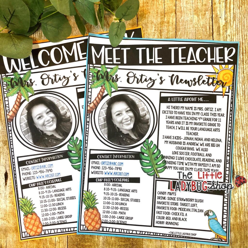 Back to School Open House Teacher Templates