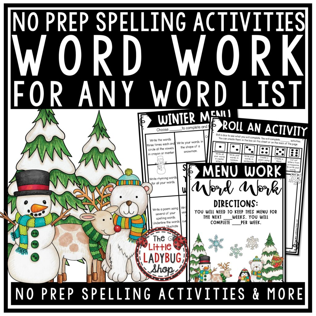 Winter Word Work Activities for Upper Elementary
