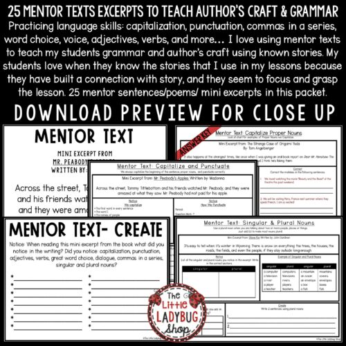 Mentor Text Writing & Grammar Practice