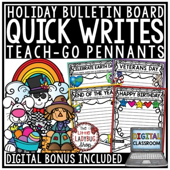 Digital Holiday Quick Writes Bulletin Board Earth Day, Easter Writing Prompts