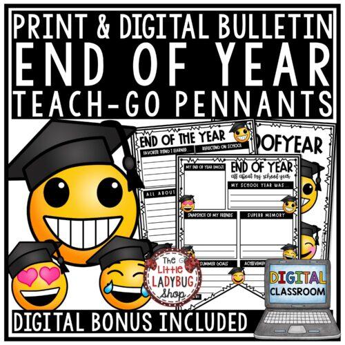 Digital Emoji End of Year Writing Bulletin Board, Reflection Last Day of School
