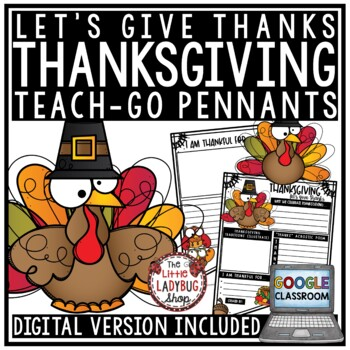 I Am Thankful For Writing Digital Thanksgiving Activities Fall Bulletin Board The Little Ladybug Shop