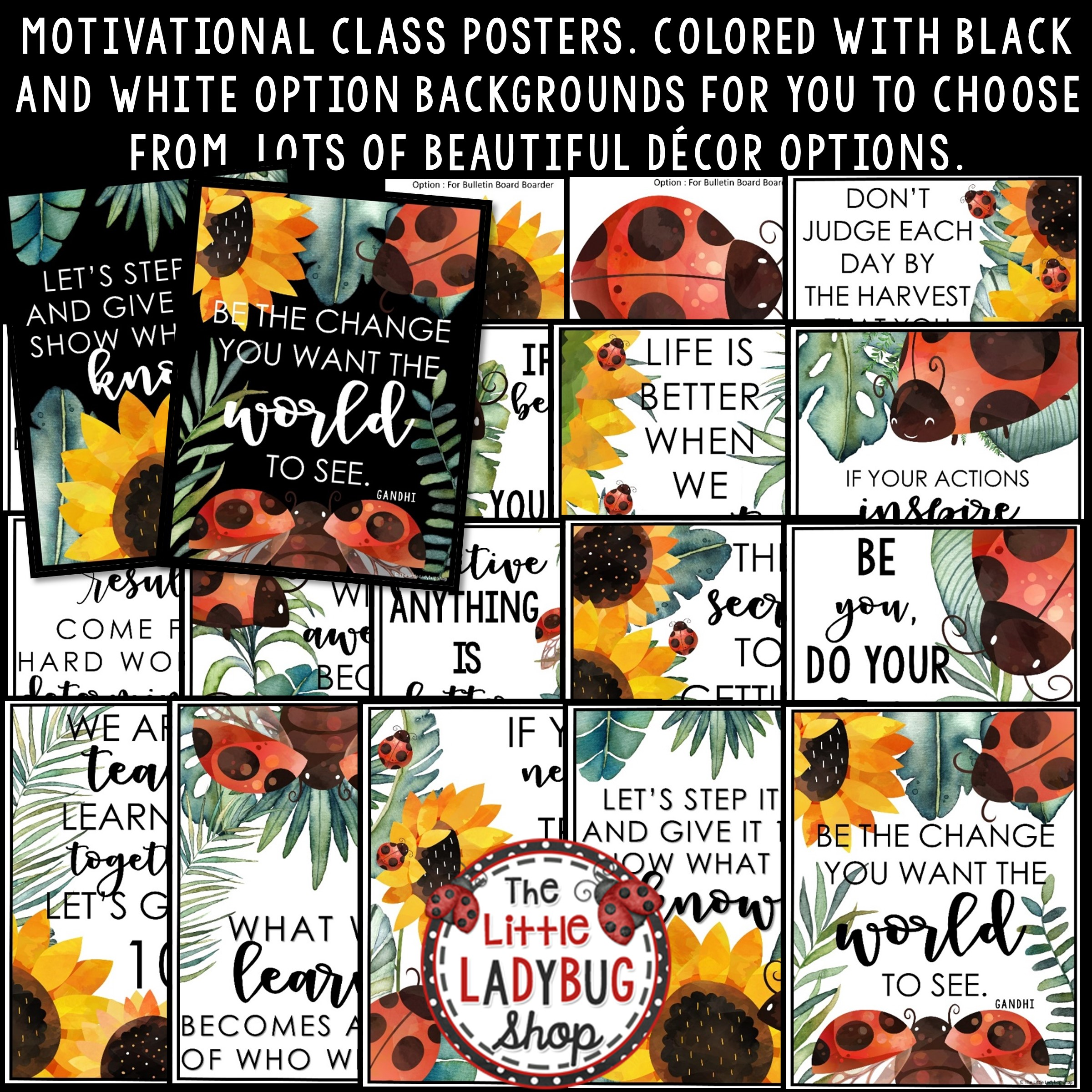 Ladybug Sunflower Classroom Decor Motivational Posters Bulletin Board The Little Ladybug Shop