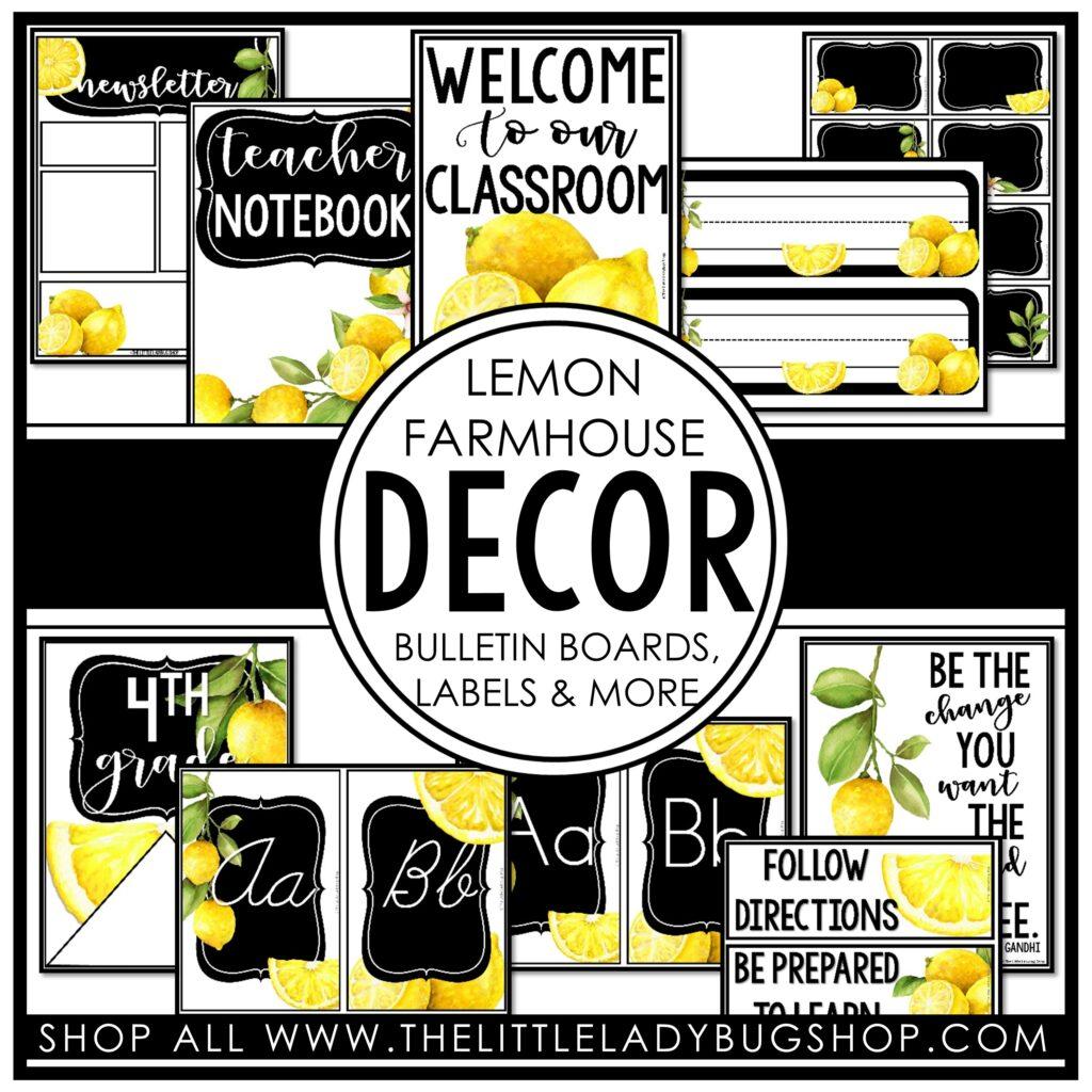 Lemon Theme Classroom Decor
