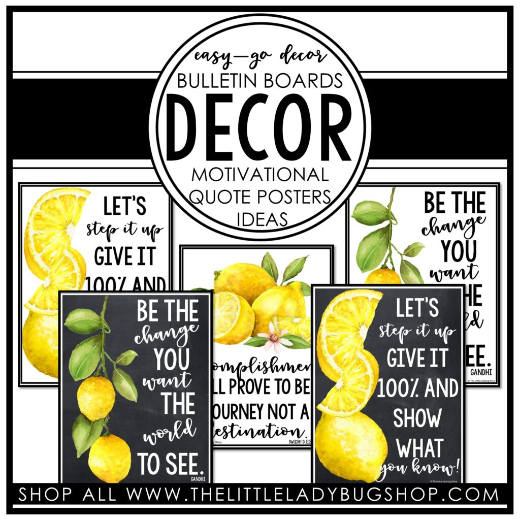 Modern Lemon Theme Bulletin Board Ideas for Teachers