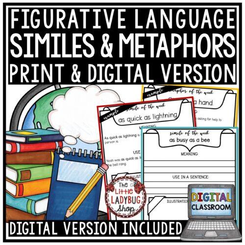Digital Similes & Metaphors Worksheets, Figurative Language Activities Google