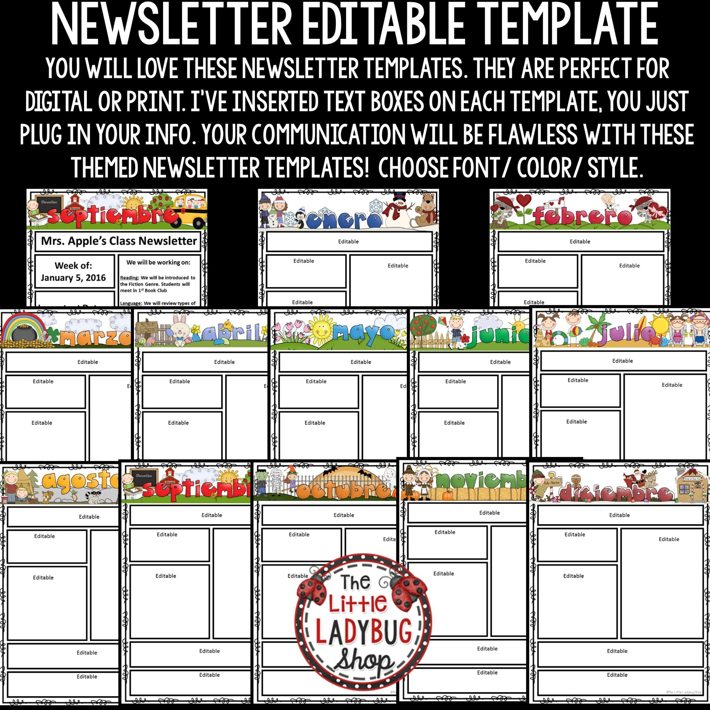 Spanish Newsletter Classroom Monthly Weekly Newsletter Template Editable The Little Ladybug Shop