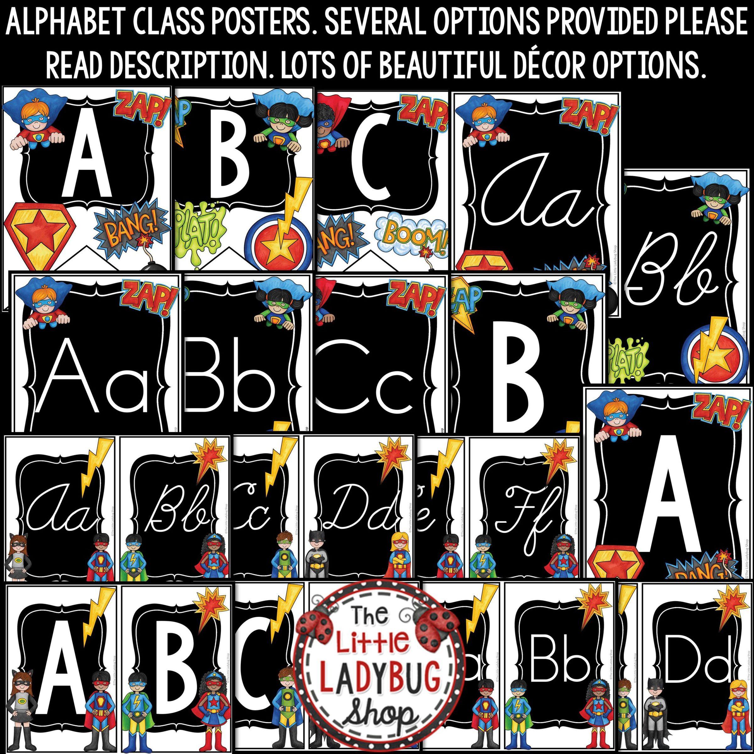Superhero Classroom Theme Decor Print Cursive Alphabet Posters Bulletin Board The Little Ladybug Shop
