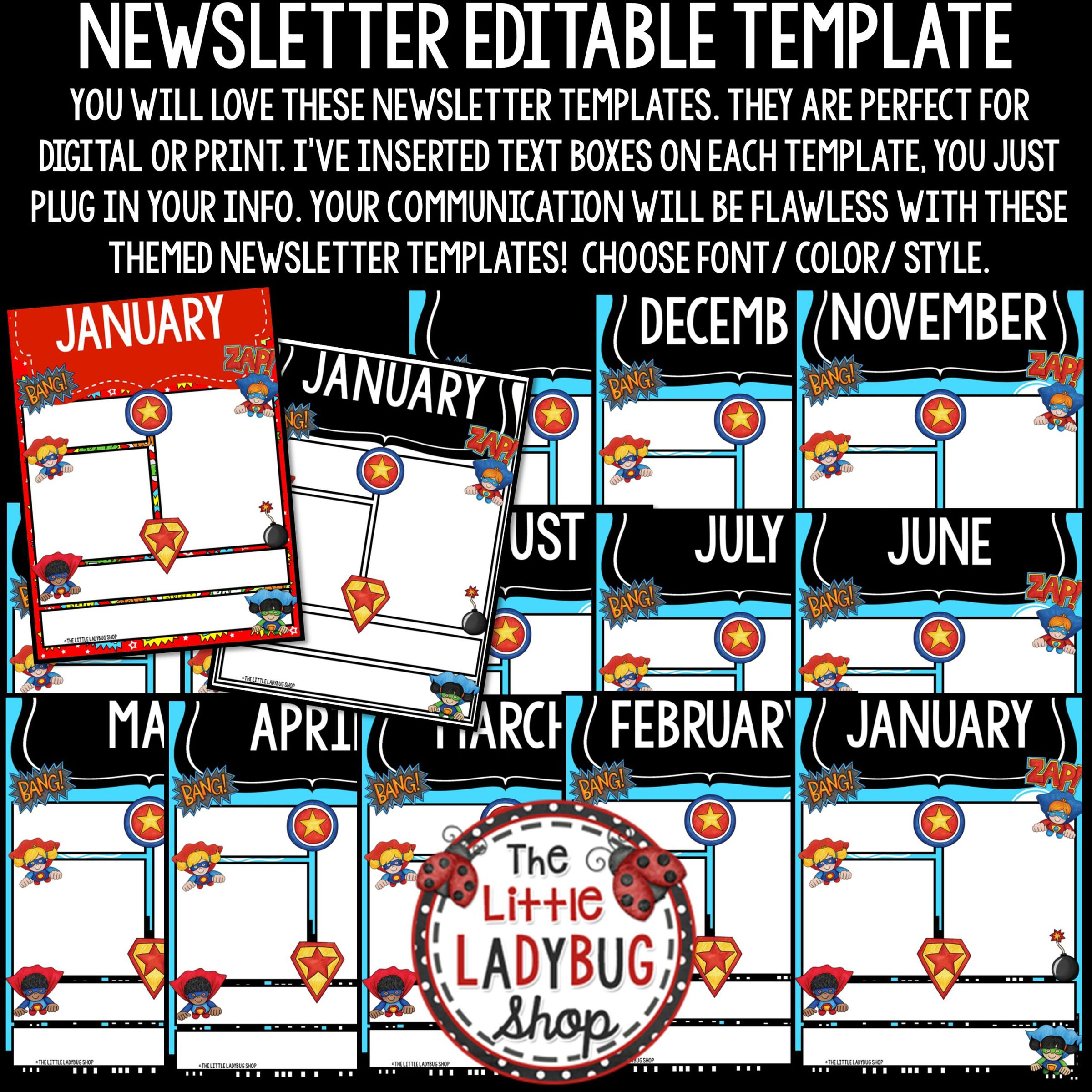 Weekly Newsletter Template from thelittleladybugshop.com