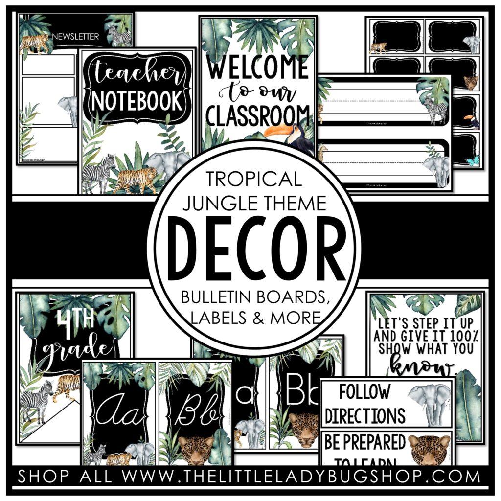 Tropical Jungle Theme Classroom Decor Theme