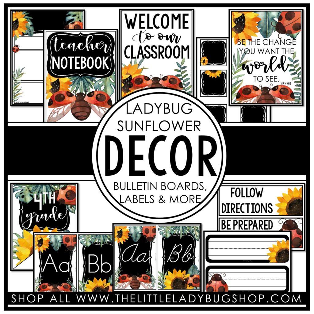 Ladybug and Sunflower Classroom Decor Theme