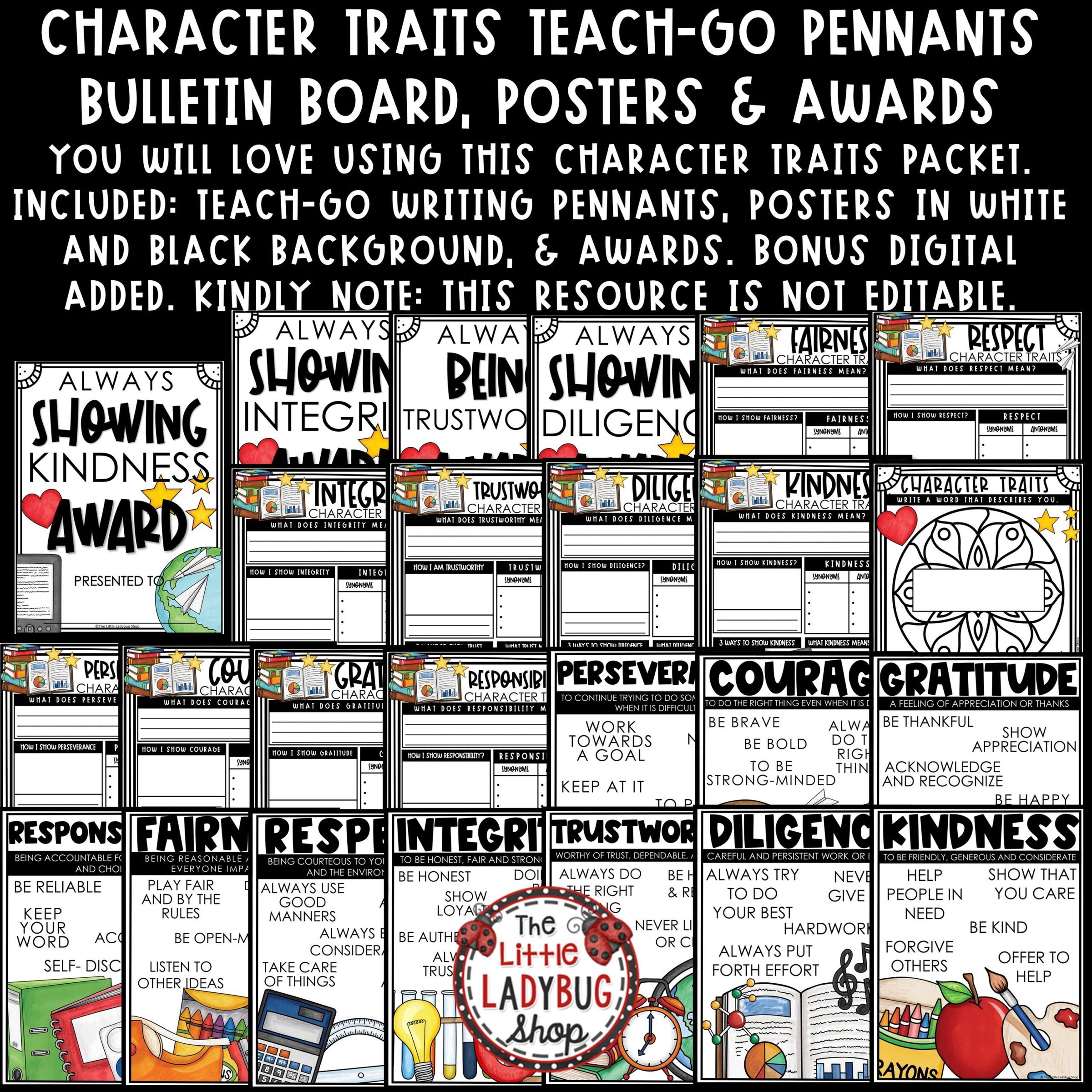 Character Education Traits Posters, Writing Bulletin Board