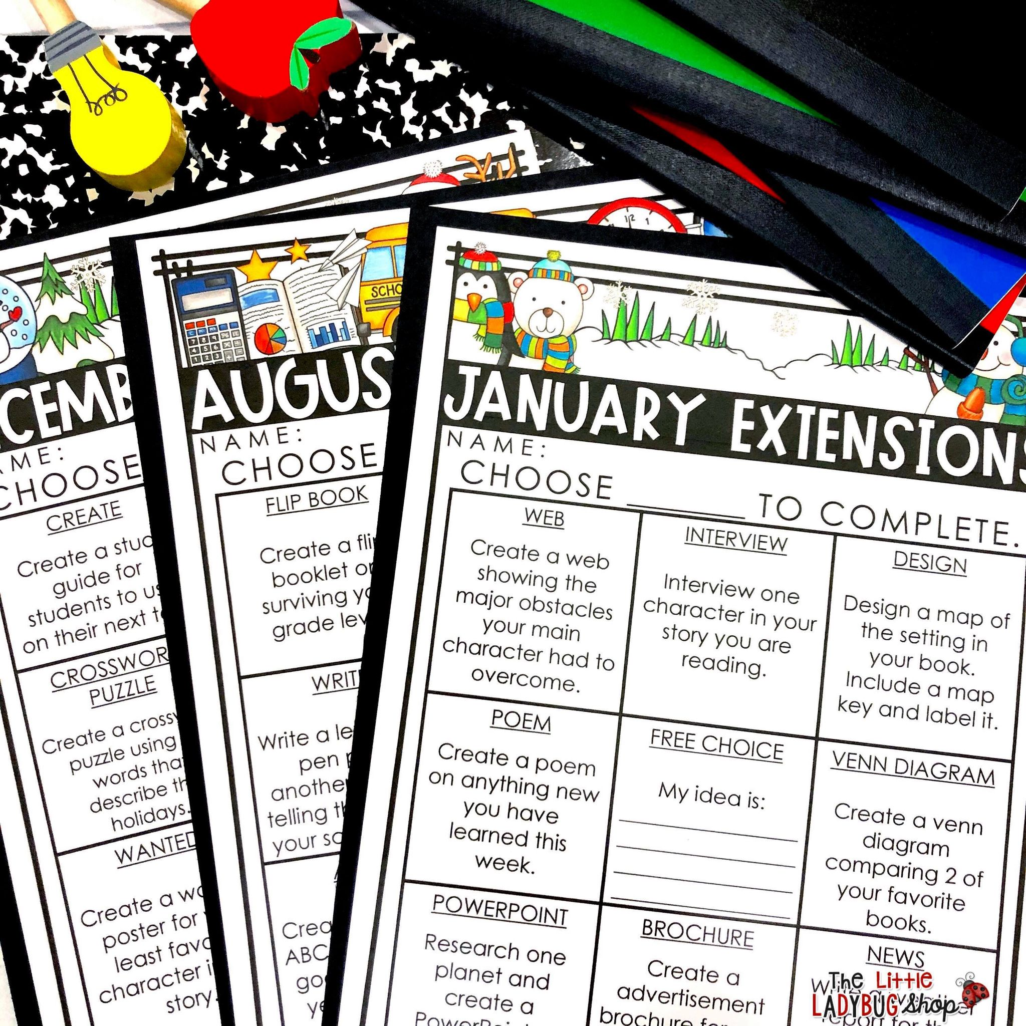 Choice Boards & Menus in the Upper Elementary Classroom